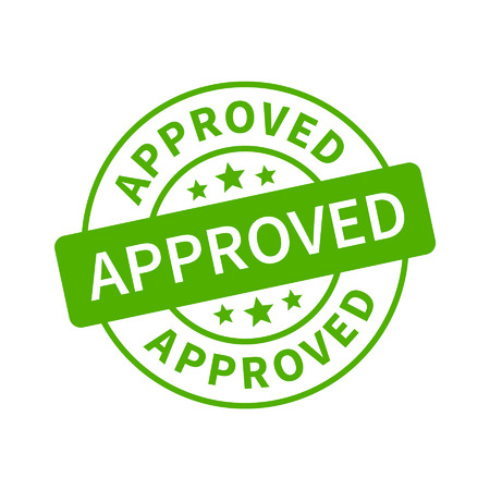 approved stamp: Aprobado sello, etiqueta, pegatina o un palo icono plana