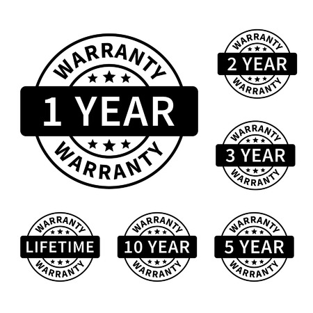 seal stamp: 1, 2, 3, 5, 10 years and lifetime warranty label or seal flat icon