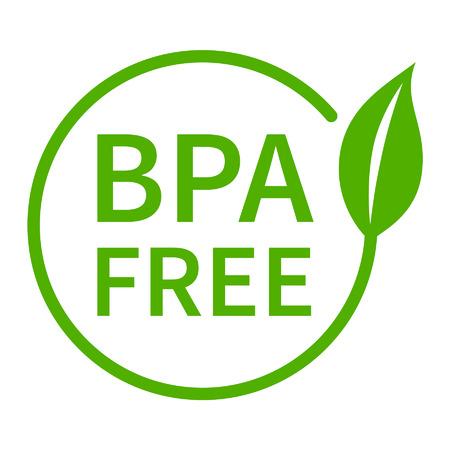 riesgo quimico: BPA bisfenol A y los ftalatos icono insignia plana libre para plástico no tóxico Vectores