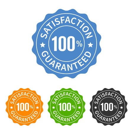 seal of approval: 100 satisfaction guaranteed seal or label flat icon