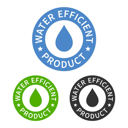Water efficient product sticker or packaging seal flat icon