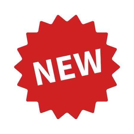 Nieuwe functie of product badge vlakke icoon voor apps en websites