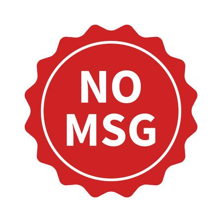 Geen MSG MSG gratis restaurant eten badge of sticker vlakke icoon Stock Illustratie