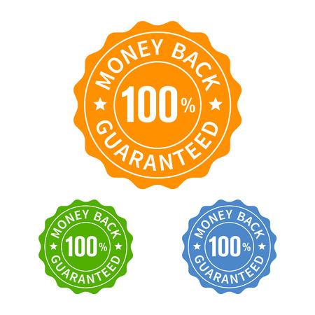 sellos: Garantía de reembolso del sello o un icono plana sello Vectores