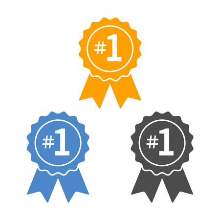 one by one: Number 1 winner ribbon award badge