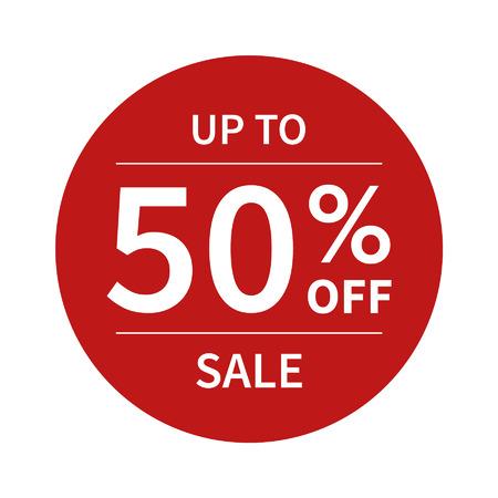 Tot 50 korting verkoopbevordering platte badge grafisch Stock Illustratie