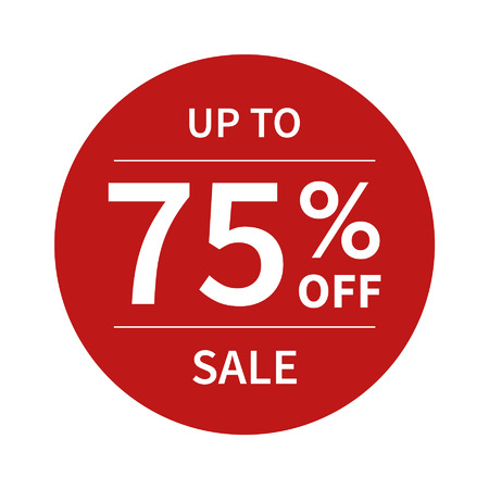 cut off: Up to 75 off sale promotion flat badge graphic
