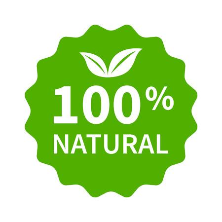 naturel: 100 tout timbre naturel, étiquette, un autocollant ou un bâton icône plat pour les produits et les sites Web Illustration