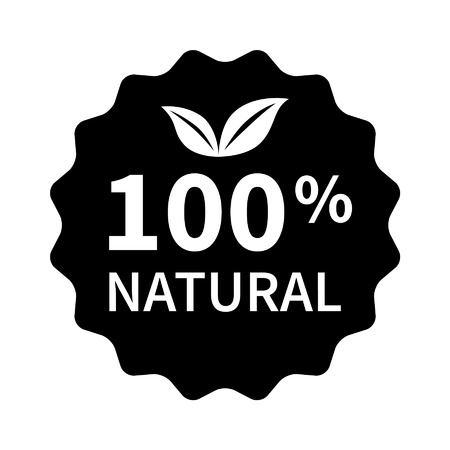 100 all natural stamp, label, sticker or stick flat icon for products and websites 向量圖像