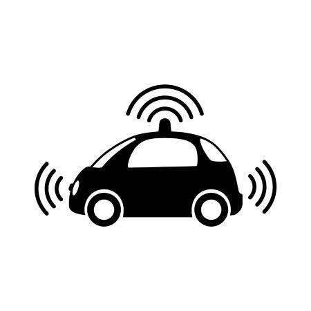 Autónoma vista lateral de vehículos sin conductor de auto-conducción con el icono plana de radar Ilustración de vector
