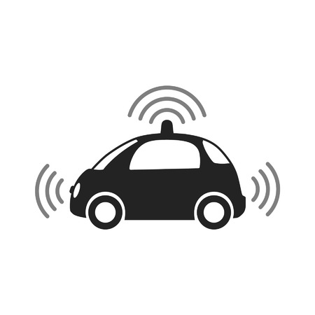 car driving: Autonomous self-driving driverless vehicle side view with radar flat icon