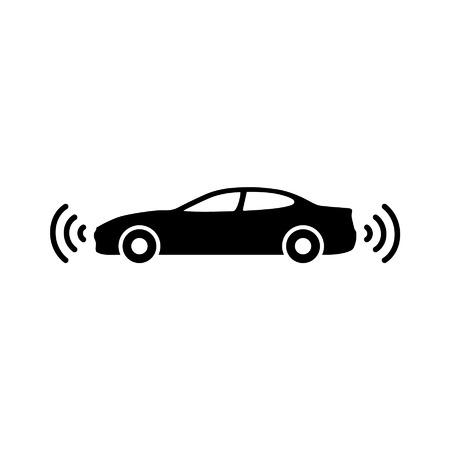 autonomous: Autonomous self-driving driverless vehicle side view with radar flat icon