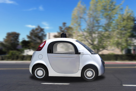 fast car: Autonomous self-driving driverless vehicle on the road Stock Photo