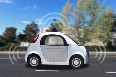 electric car: Autonomous self-driving driverless vehicle with radar on the road