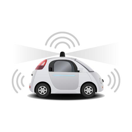 conduciendo: Auto-conducci�n de veh�culos sin conductor Aut�noma con el radar 3D rinden Vectores