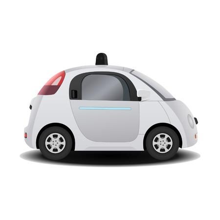 manejando: Vehículo sin conductor auto-conducción autónoma en 3D render