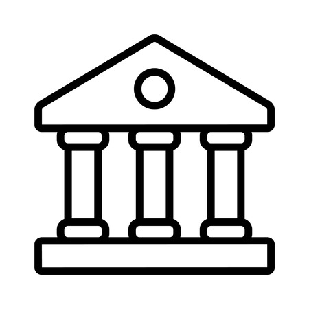 Financial institution bank line art icon for apps and websites