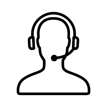 business desk: Customer support service line art icon for apps and websites
