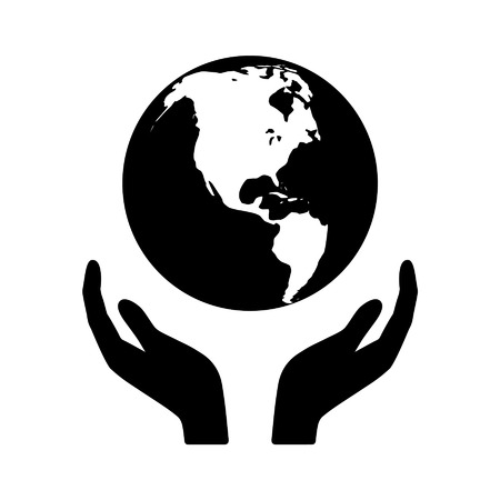 black hands: Holding the world in your hands flat icon for apps and websites