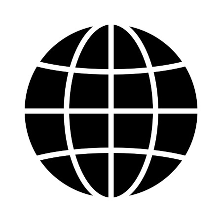 International globe flat icon for apps and websites 일러스트