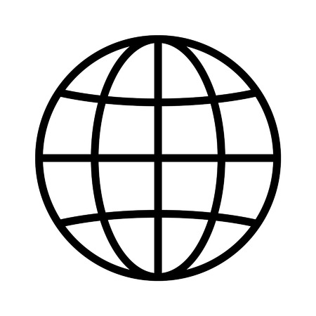 International globe line art icon for apps and websites 일러스트