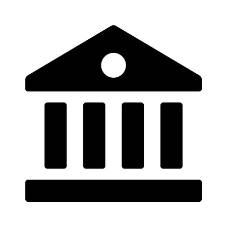 Financial institution bank flat icon for apps and websites