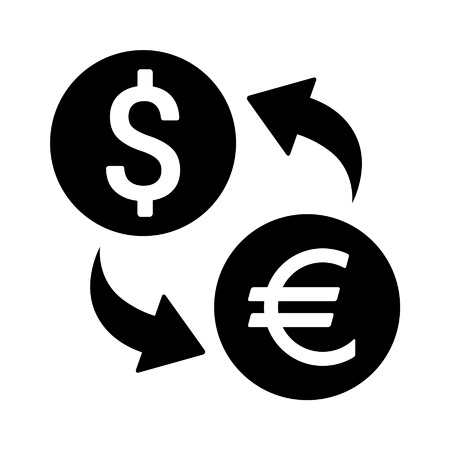 Foreign currency exchange flat icon for apps and websites Ilustração