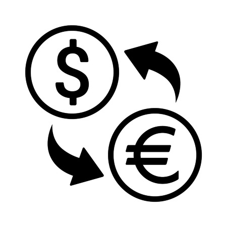 foreign currency: Foreign currency exchange line art icon for apps and websites Illustration