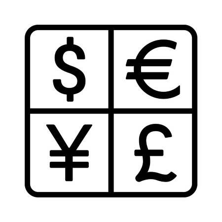 Dollar, Euro, Yen and Pound currency exchange line icon for apps and websites