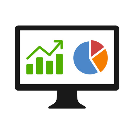 Financial analytic chart graphs on computer monitor flat icon