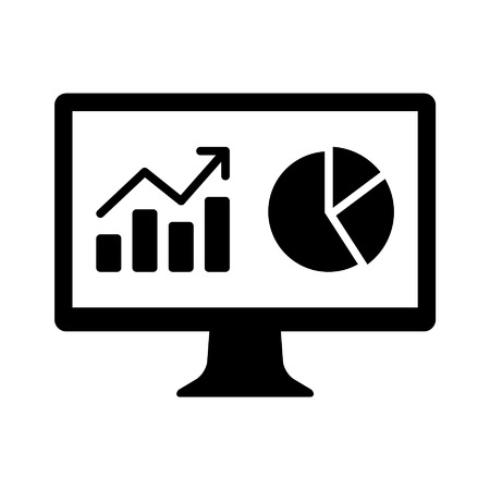 analytic: Financial analytic chart graphs on computer monitor flat icon