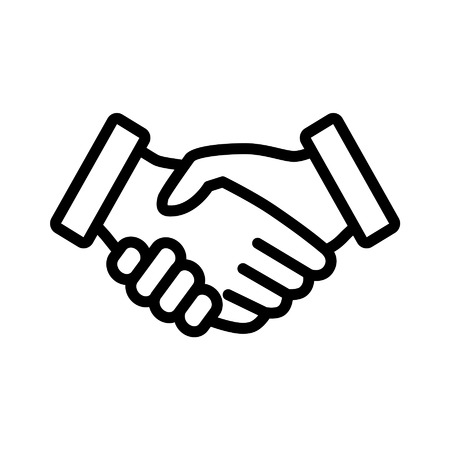 business partnership: Business agreement handshake line art icon for apps and websites