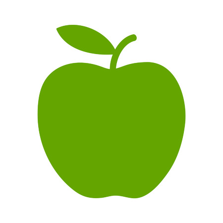 Green apple flat icon for apps and websites