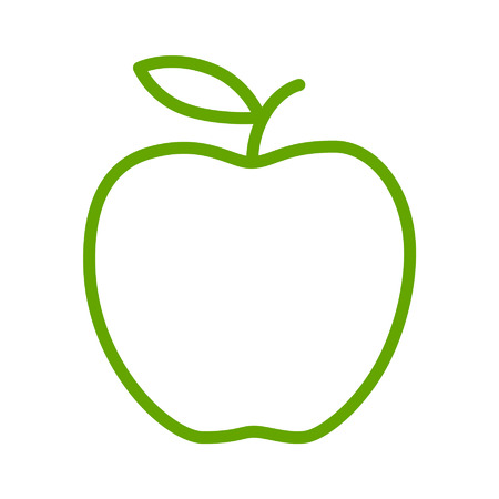 Green apple line art icon for apps and websites