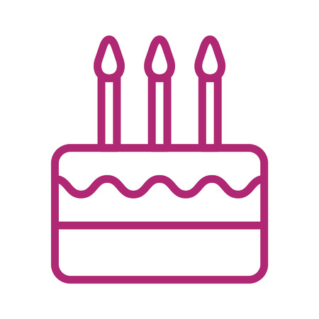 birthday celebration: Birthday celebration cake with candles line art icon Illustration