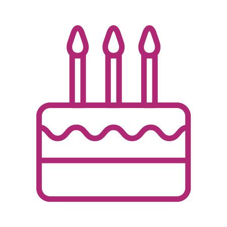 Birthday celebration cake with candles line art icon Illustration