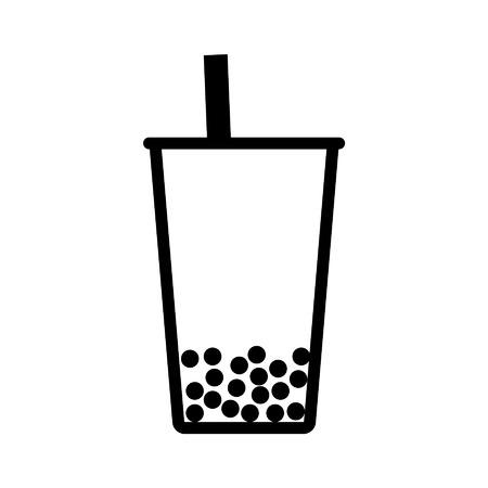 Bubble tea boba lijntekeningen icoon voor apps en websites Stock Illustratie