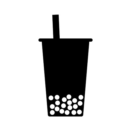 Bubble tea boba flat icon for apps and websites
