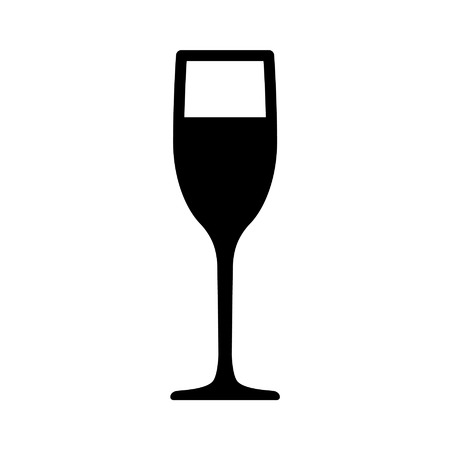 champagne: Champagne flute glass flat icon for apps and websites Illustration