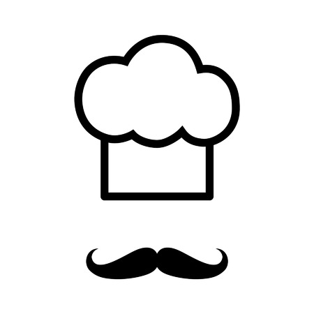 chef kitchen: Chef with moustache mustache line art icon for apps and websites Illustration