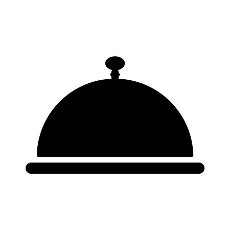 objects with clipping paths: Cloche servicing plate flat icon for apps and websites