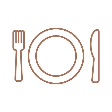Dining lijntekeningen icoon met plaat, vork en mes Stockfoto - 42420183
