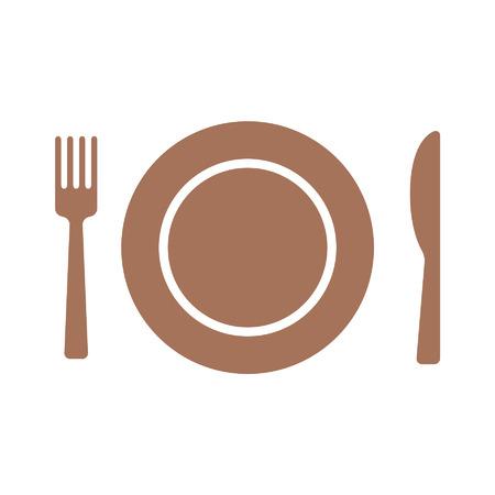 cubiertos de plata: Comer icono plana con plato, tenedor y cuchillo para aplicaciones y sitios web