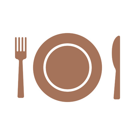 Dining flat icon with plate, fork and knife for apps and websites Ilustração