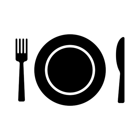 setting: Dining flat icon with plate, fork and knife for apps and websites Illustration