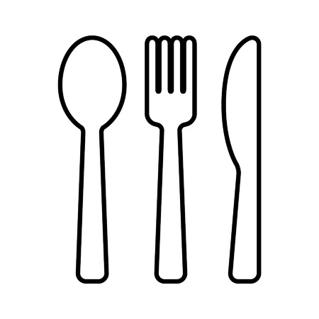 knife fork: Dining silverware line art icon with spoon, knife and fork