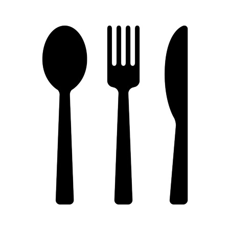 Dining silverware flat icon with spoon, knife and fork