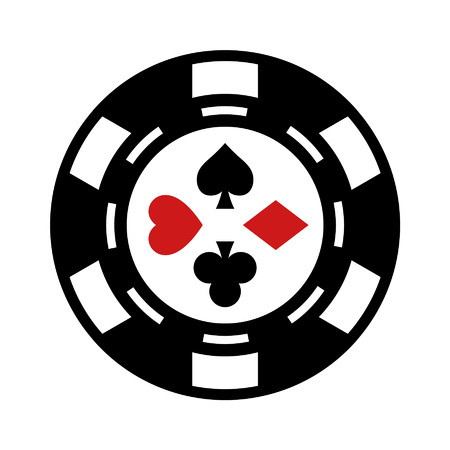 gambling chip: Casino gambling chip flat icon for apps and websites Illustration