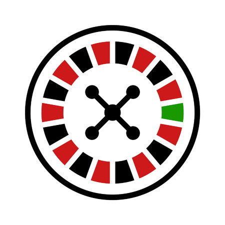 vector wheel: Casino roulette wheel flat icon for apps and websites