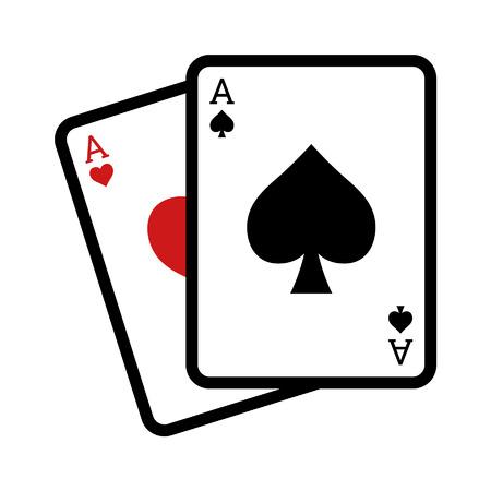 blackjack: Blackjack poker cards line art icon for apps and websites